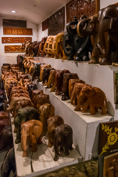 This photo shows countless wooden elephants on sale in a shop in Kandy.