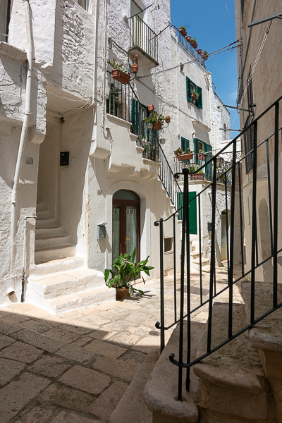 This photo shows the whitewashed buildings of Cisternino, a picturesque town which is about an hour's drive from Bari.
