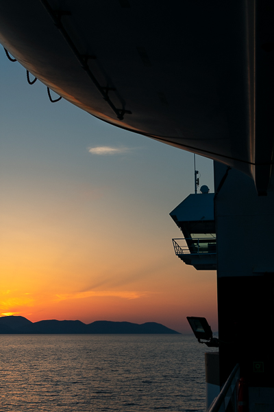 This photo shows the sunset from the ferry on our way to Bari.