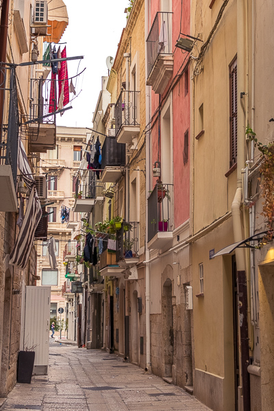This image shows a narrow alley in Bari Old Town.