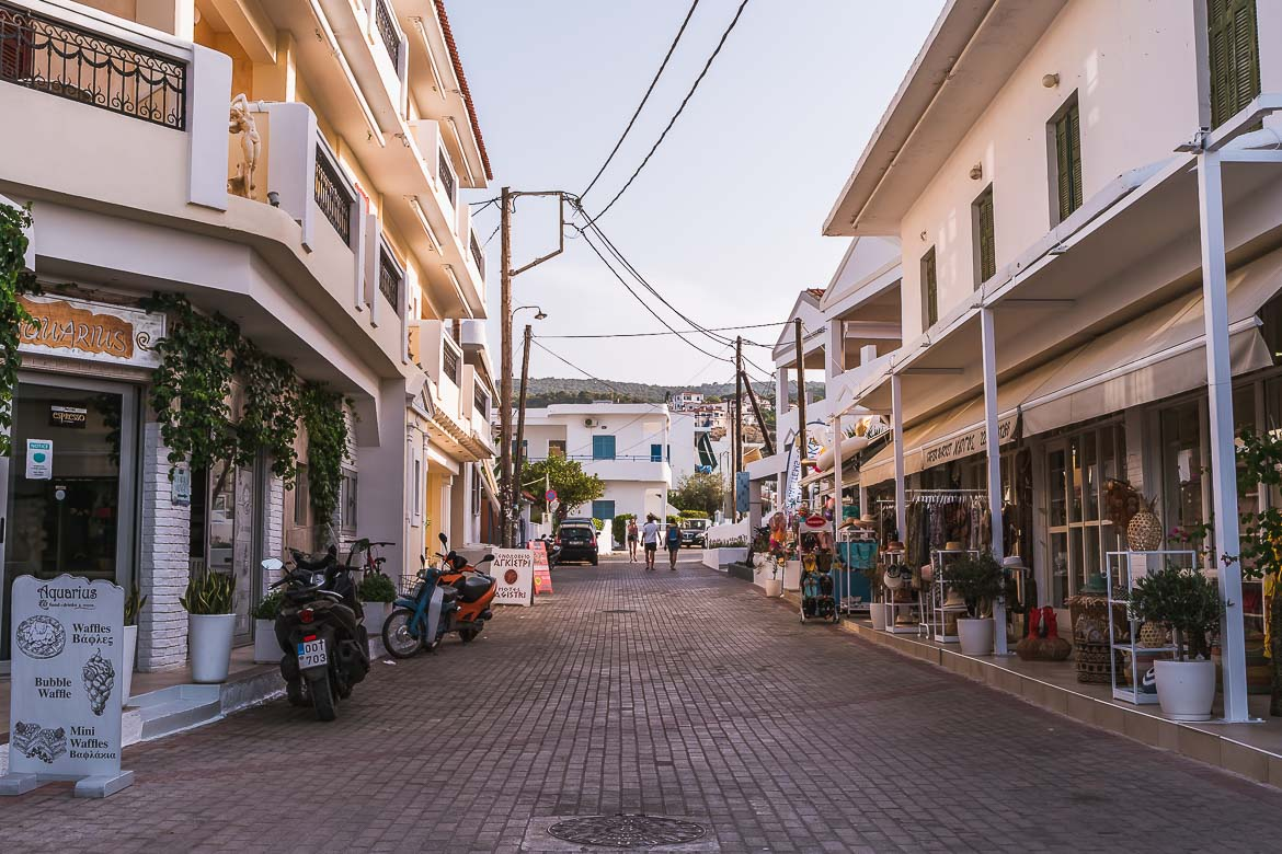 This image shows the main street in Skala Town, lined with coffee shops and the majority of Agistri restaurants.