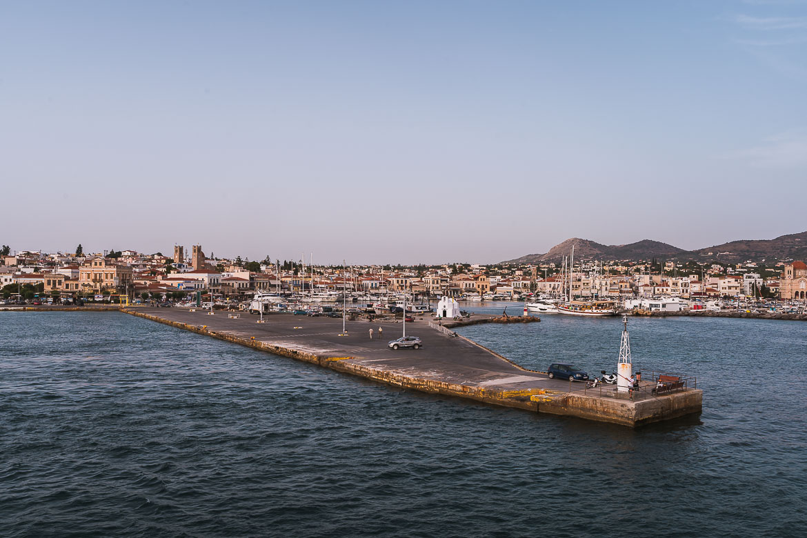 This is a panoramic view of Aegina Town as seen from the ferry.