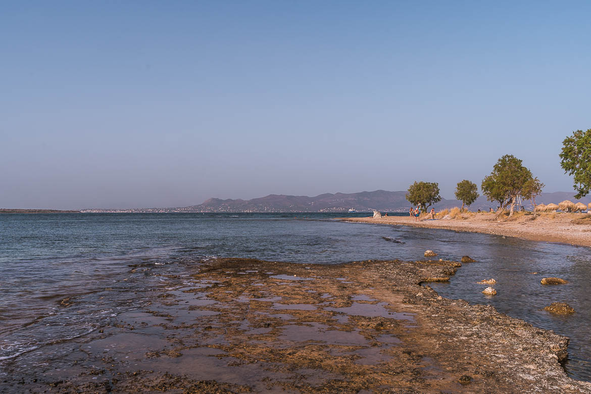 This image shows a peaceful part of Skala Beach.