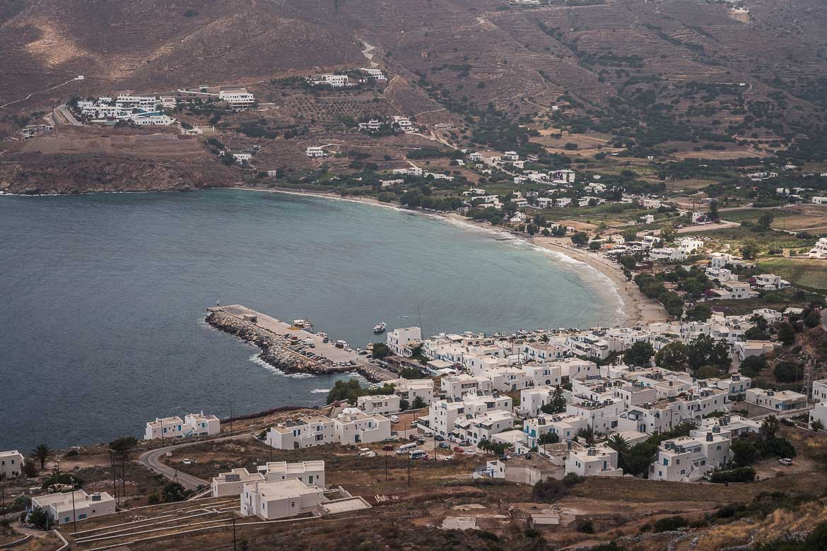 This is a panoramic shot of Aegiali Bay as seen from Potamos Village.