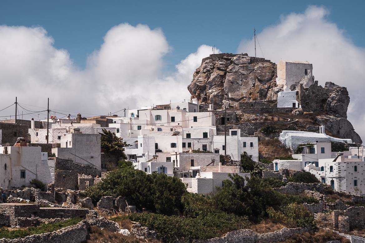 This is a panoramic view of the rock on which the castle of Amorgos is built.