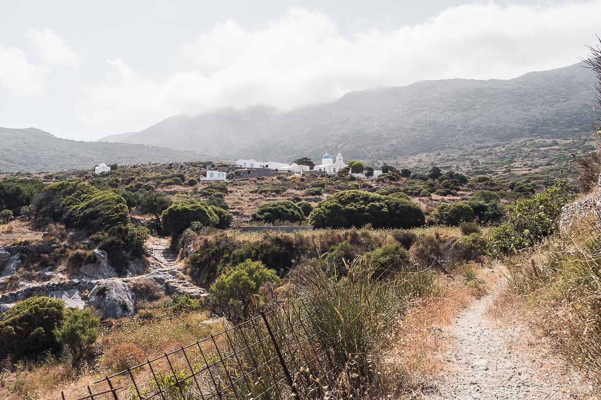 This image shows a hiking trail in Amorgos in the midst of raw natural beauty.