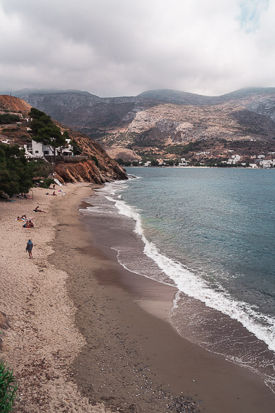 This is a panoramic shot of Levrossos Beach.