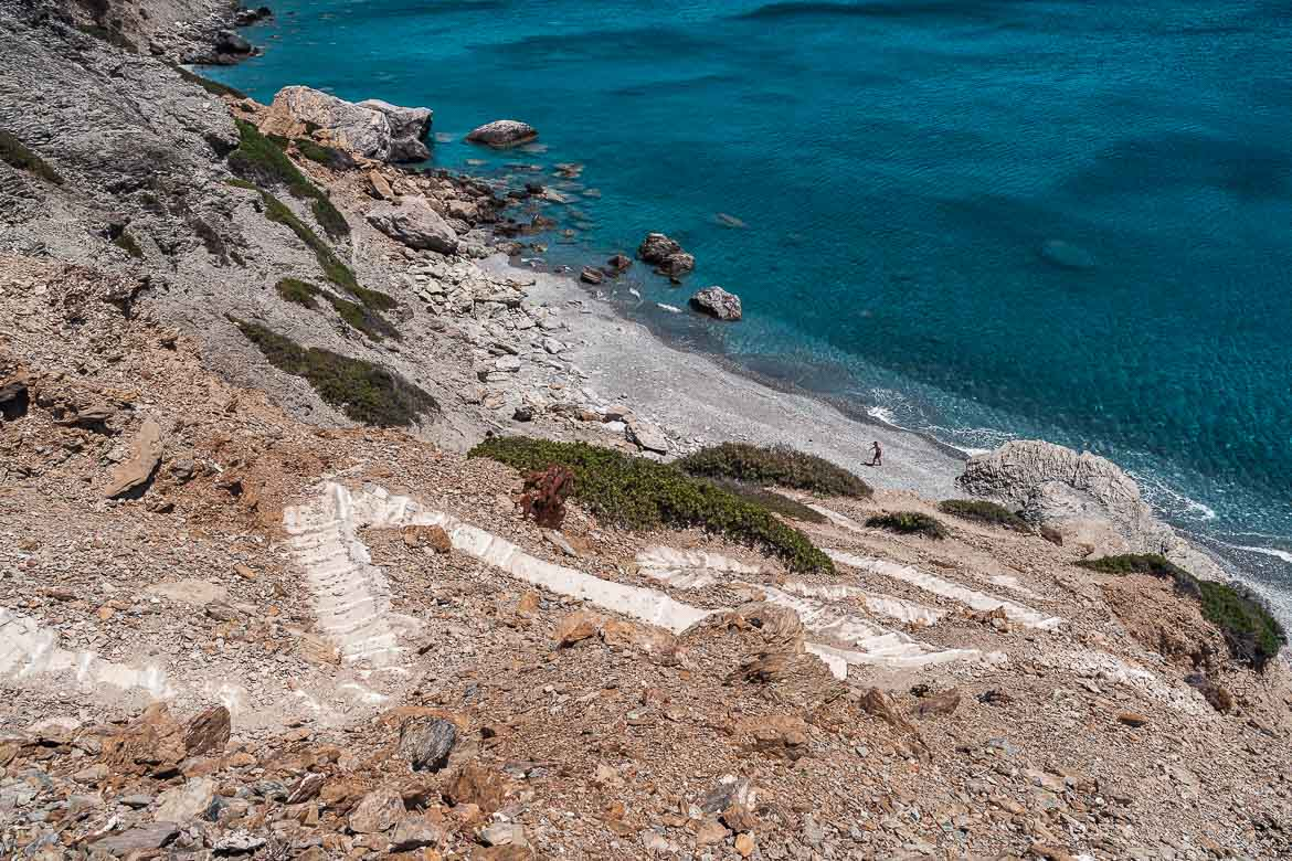 This image shows the winding path that leads to Mouros Beach.