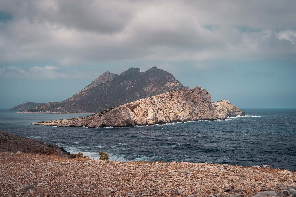 This is an image of Nikouria islet as seen from the main road on a cloudy, windy day.
