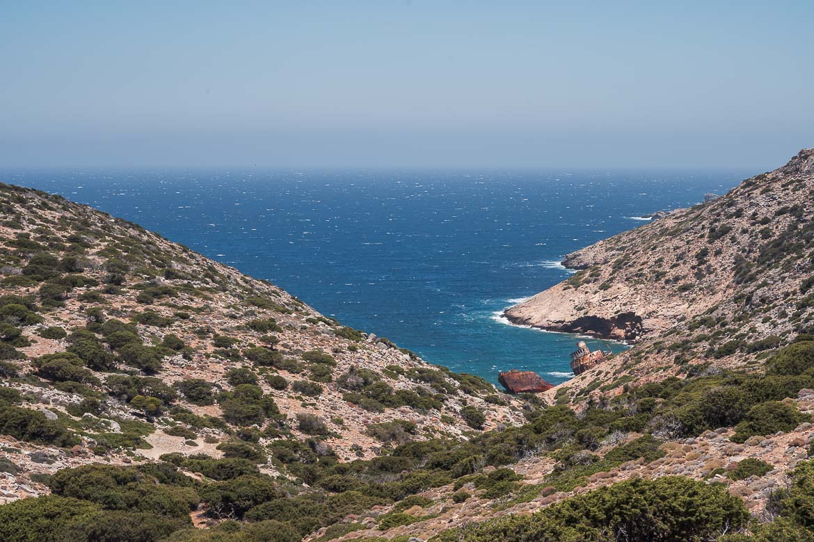 This is a panoramic shot of the tiny bay where the shipwreck is located.