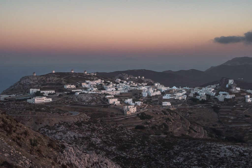 This is a panoramic shot of Chora at sunset.