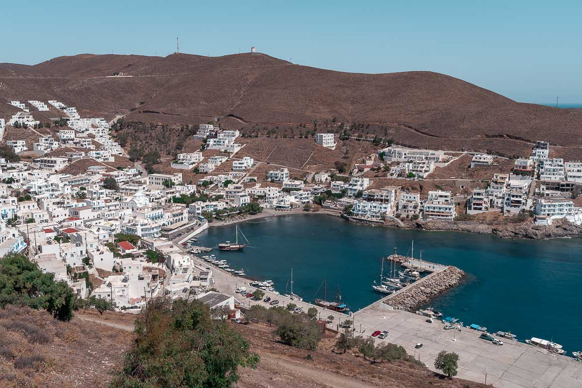 This is a panoramic shot of Pera Gialos.