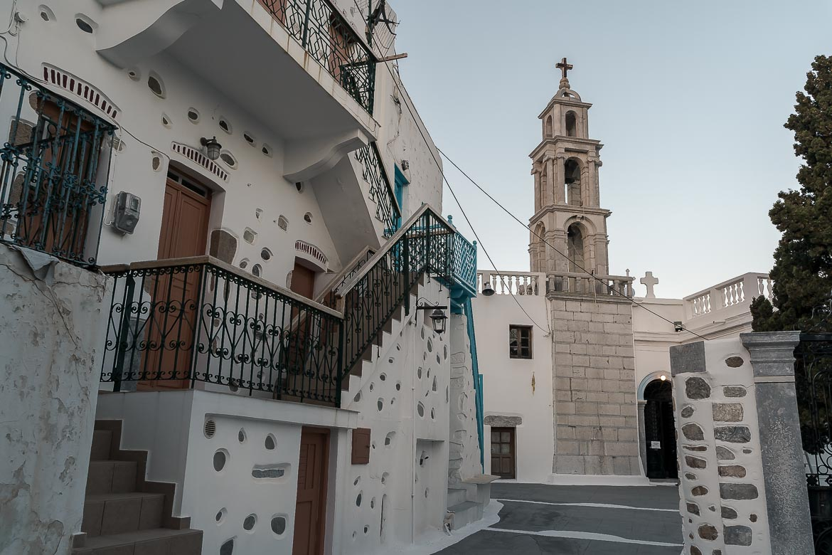 This is a photo of the Church of Panagia Portaitissa in Chora with its beautiful bell tower.
