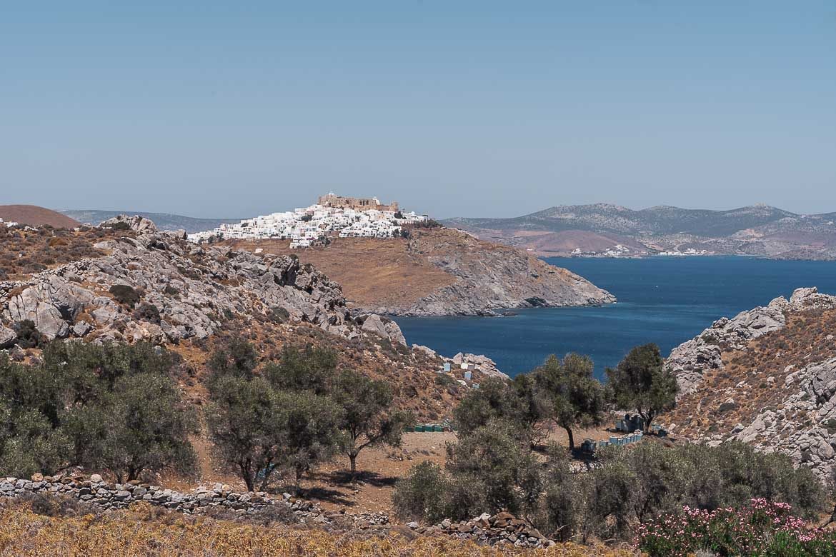 This is a panoramic shot of Chora as seen from Agios Konstantinos beach.
