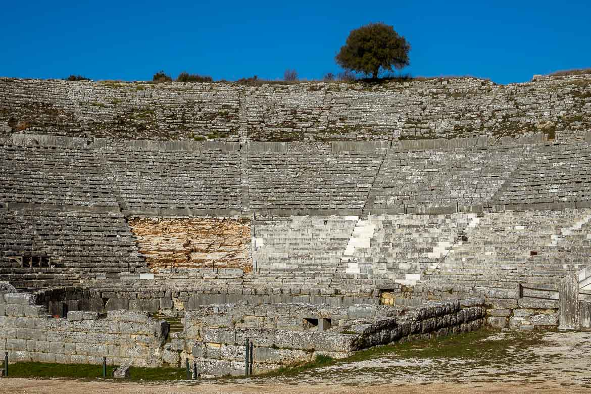 This is a close up of the ancient theatre of Dodoni.