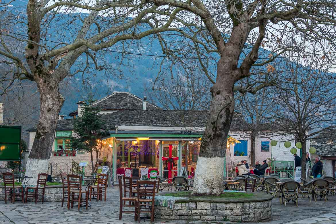 This photo shows the main square on Ioannina island.