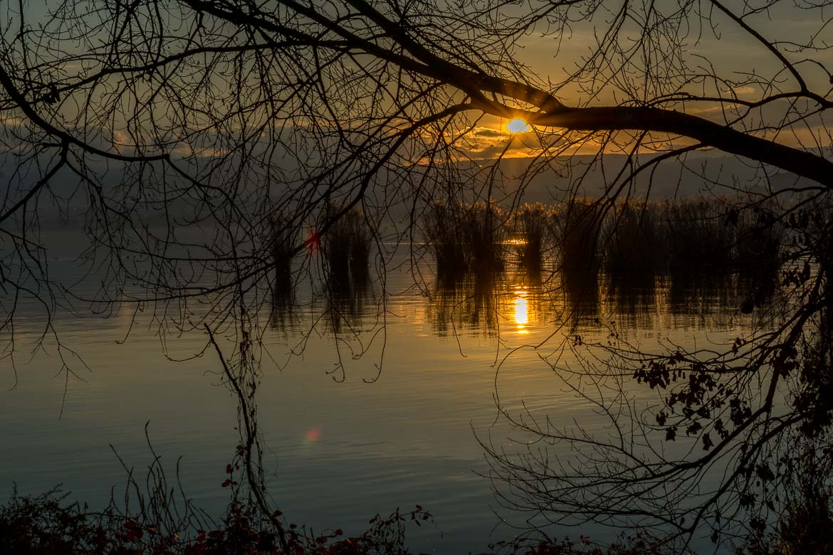 This is an image of the sunset as seen from the walk around Ioannina island.