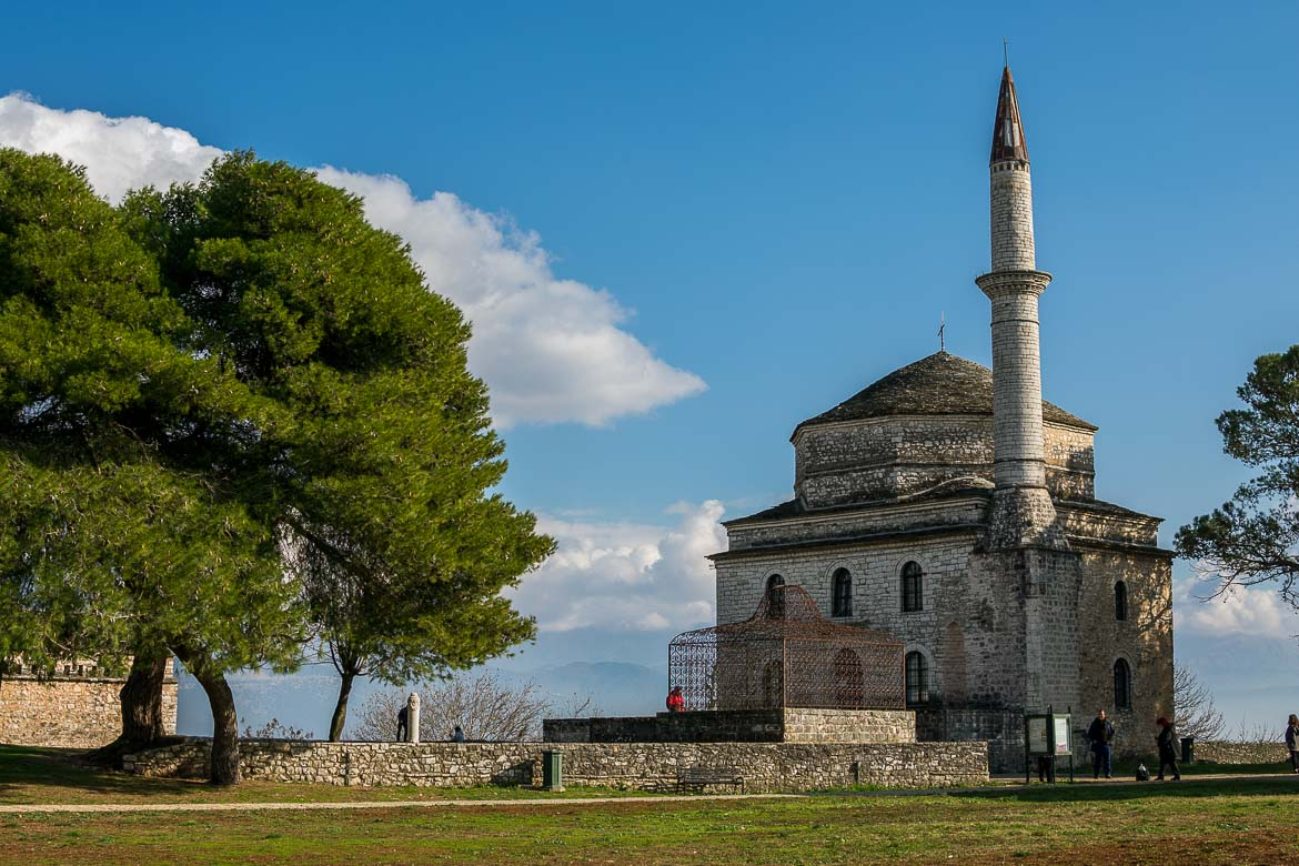 This image shows the Fethiye Mosque inside the castle of Ioannina on a sunny day.
