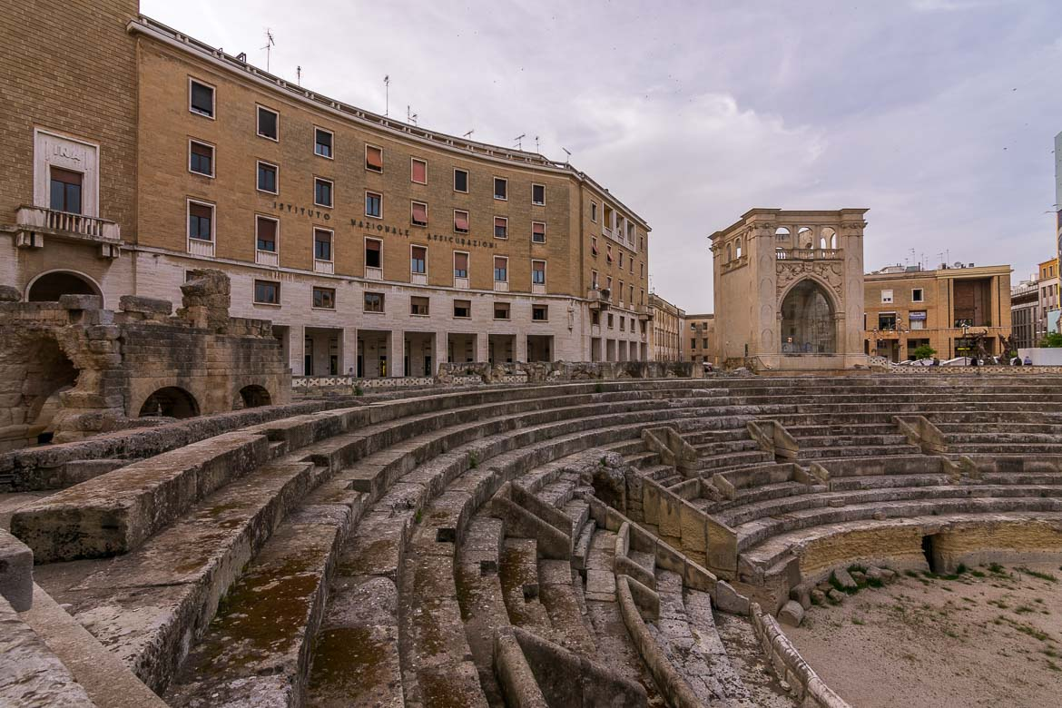 This is a photo of the Roman Amphitheatre in Lecce Italy.