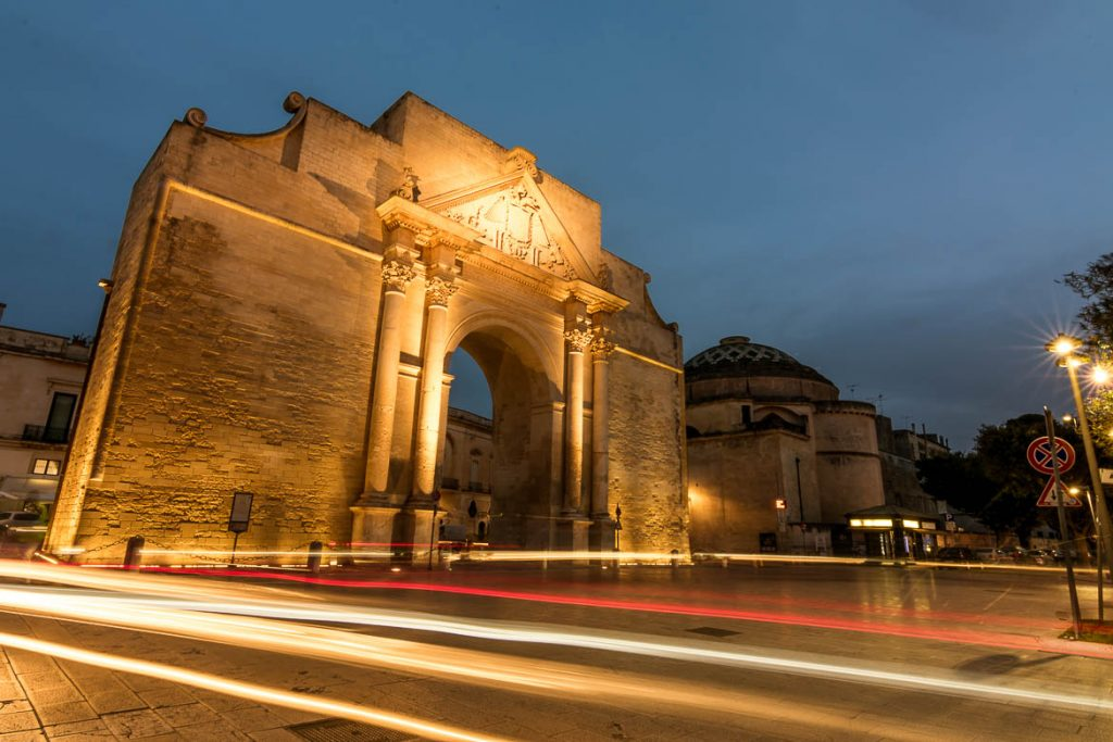 This is a long exposure shot of Porta Napoli in Lecce in the evening. We've chosen this photo to be the featured image of our article What to do in Lecce, Italy's Florence of the South.