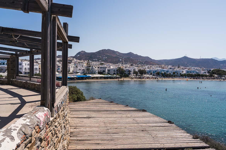 This image shows the beach in Agios Georgios Naxos.