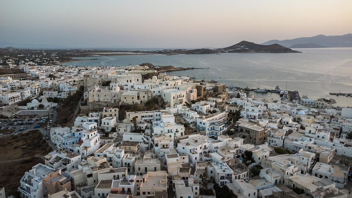 This image shows the Castle of Naxos from a drone.