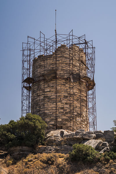 This image shows Chimaros Tower which is covered with scaffolding.
