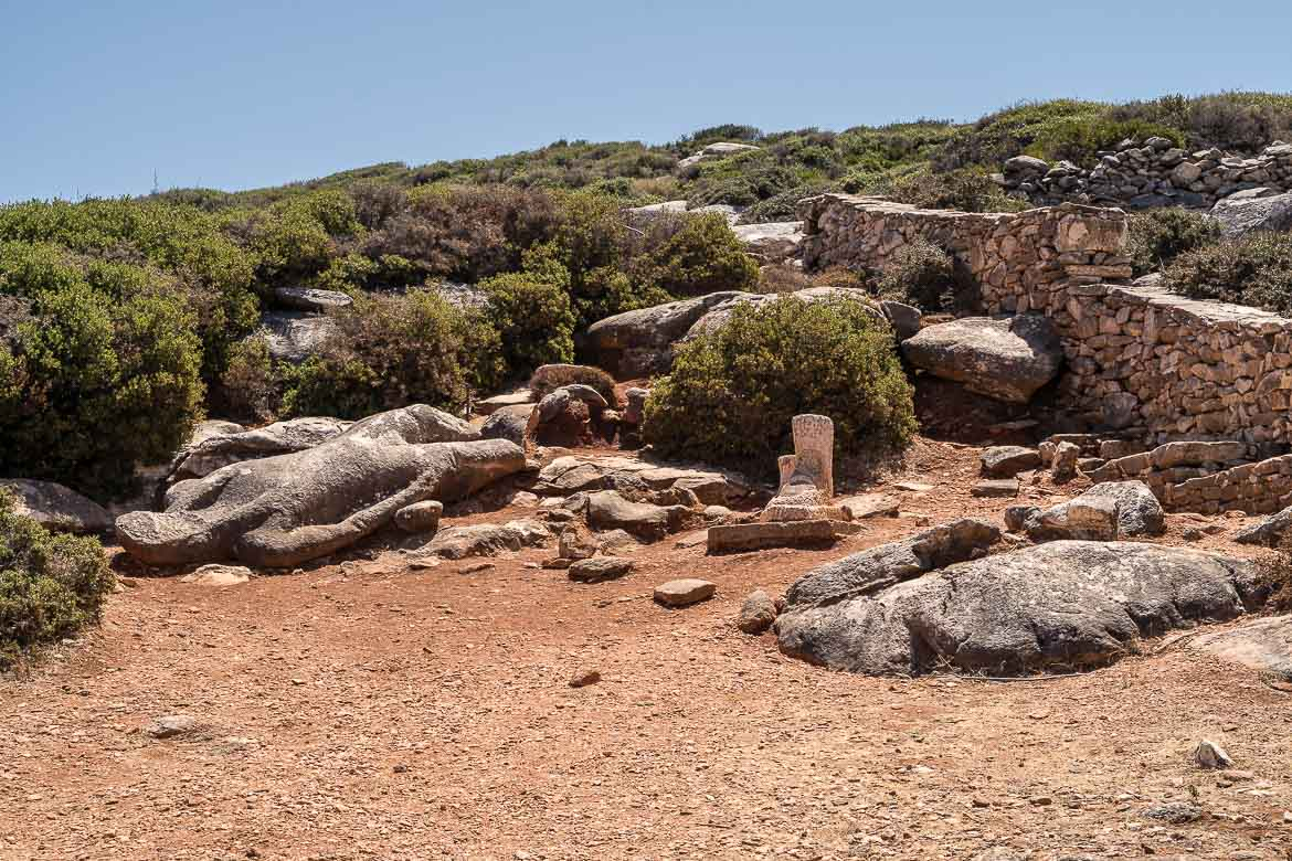 This image shows the second Kouros in Flerio. It's a large statue that lies on the ground. The Kouros statues are among the best things to see in Naxos.