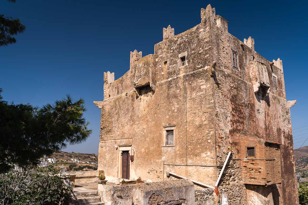 This image shows the imposing Fragopoulos Tower in Kourounochori.