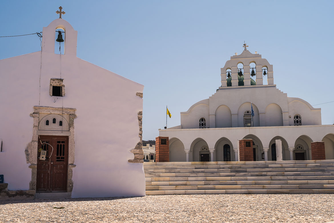 This image shows the Orthodox Cathedral of Naxos.