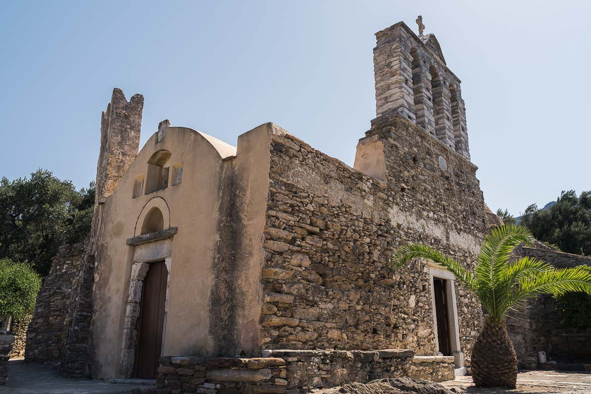 This image shows Panagia Drosiani church in Moni Village, one of the oldest churches in Naxos Greece.