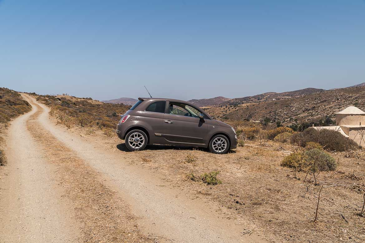 This image shows our car on a dirt road in Naxos.