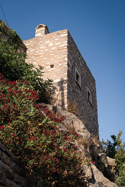This image shows the Zevgolis Tower in Apeiranthos.