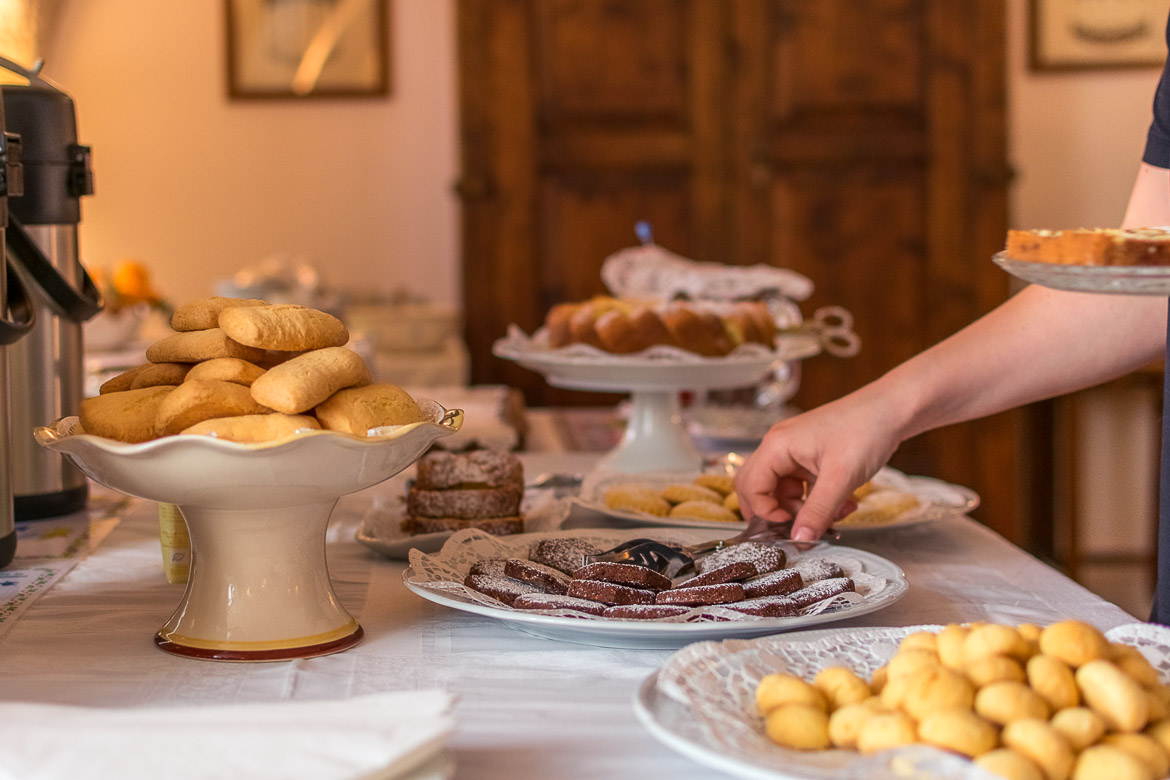 This is a close up of the breakfast buffet at masseria Il Frantoio.