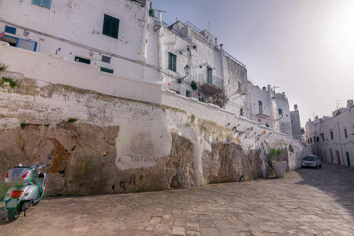 A row of white buildings in Ostuni Old Town.