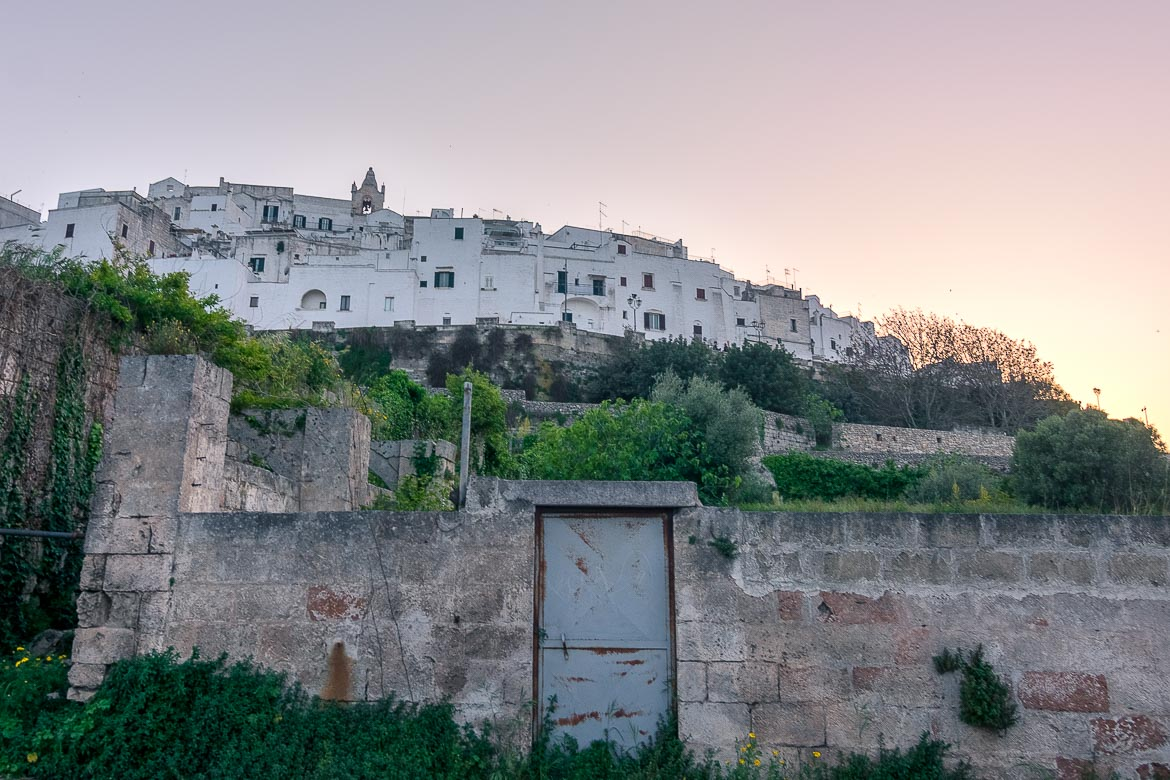 This is a panoramic shot of Ostuni from the main road.