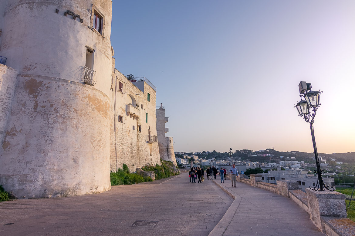 This is a photo of the walk that runs along the old fortified walls at sunset.