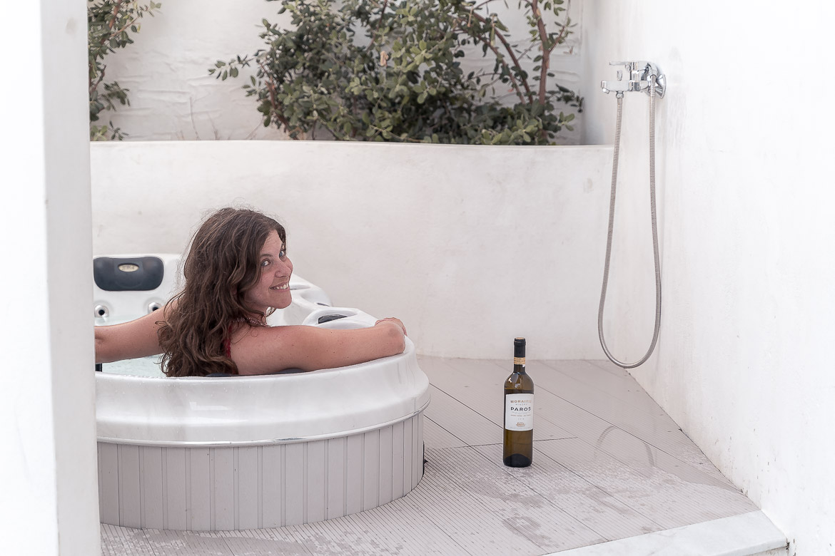 This photo shows Katerina enjoying the hot tub at our room terrace.