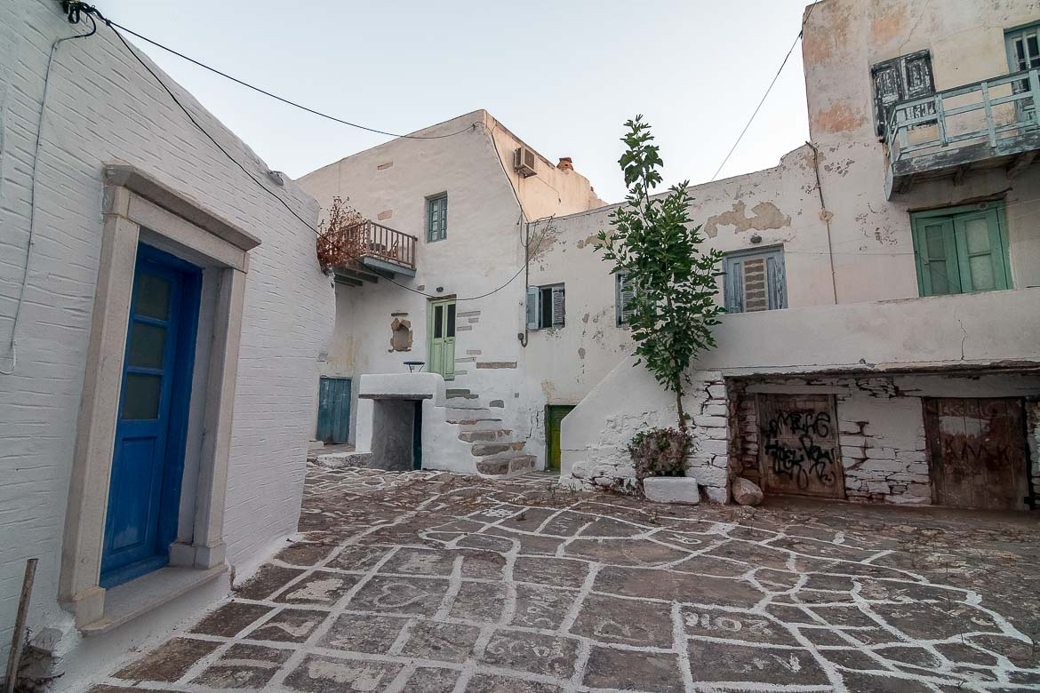 This is a panoramic shot of traditional Antiparos Town with its whitewashed buildings and alleys.