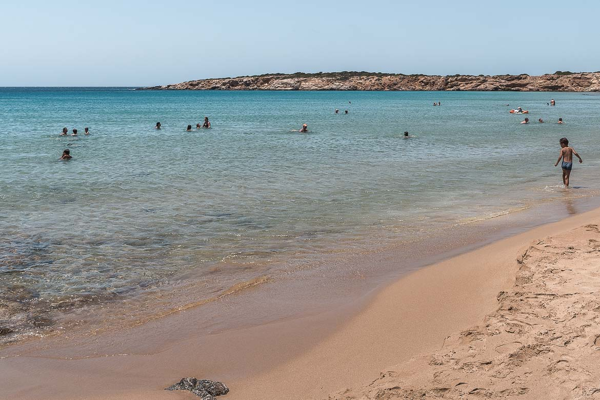 This is a photo of Faragas Beach, a long sandy beach with turquoise waters.