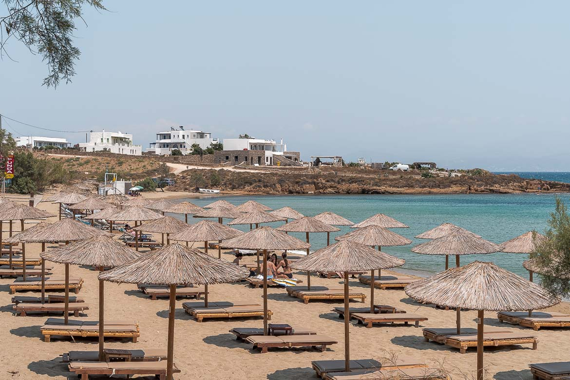 This is an image of the sunbeds at Punda Beach with the gorgeous sea in the background.