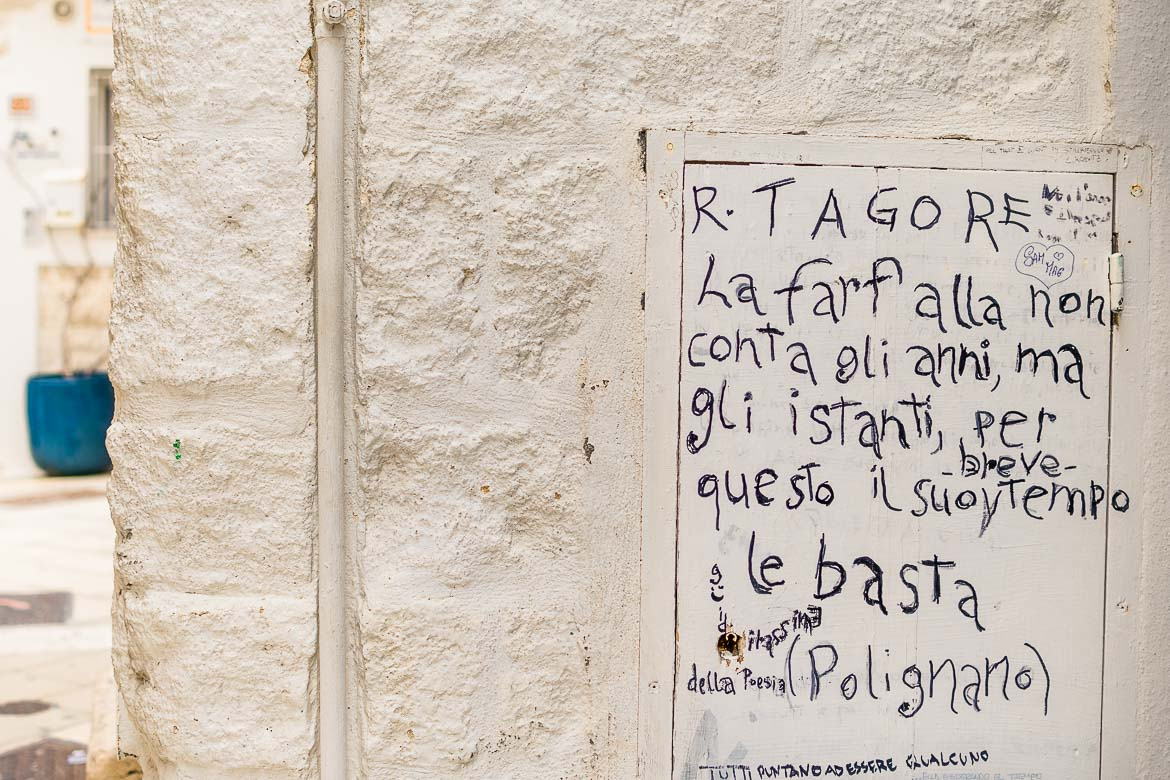 This is a close up of a poem written on a small metal door on the wall. It reads: La farfalla non conta gli anni ma gli istanti, per questo il suo breve tempo le basta. This translates to: the butterfly does not count the years but the moments, for this reason its short time is enough.