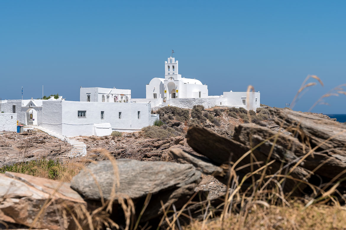 This is a panoramic view of the all-white Chrissopigi monastery.