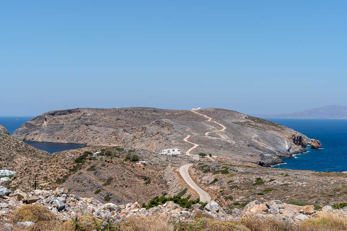 This is a panoramic view of the road that windds its way through mountains and hills. This shot was taken near Cheronissos.