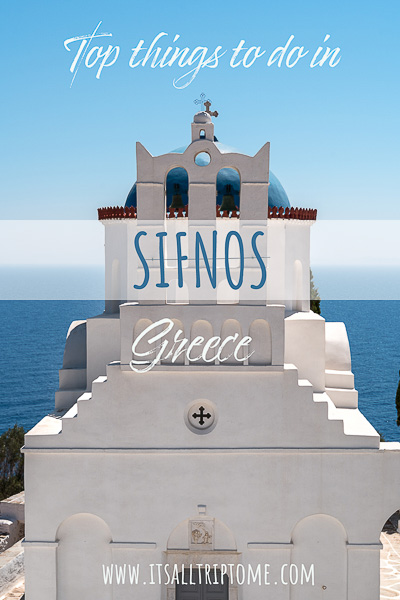 This image is a close up of the bell tower at Chrissopigi Monastery. This is an optimised image for Pinterest. There is overlay text that reads: Top things to do in Sifnos Greece. If you like our article about what to do in Sifnos, please pin this image!