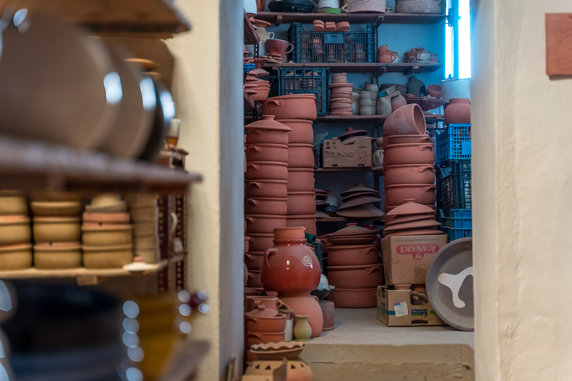 This photo was shot inside the workshop of Atsonios Ceramics. There are pots of all sizes and uses piled up there. Visiting a pottery shop is one of the best things to do in Sifnos.