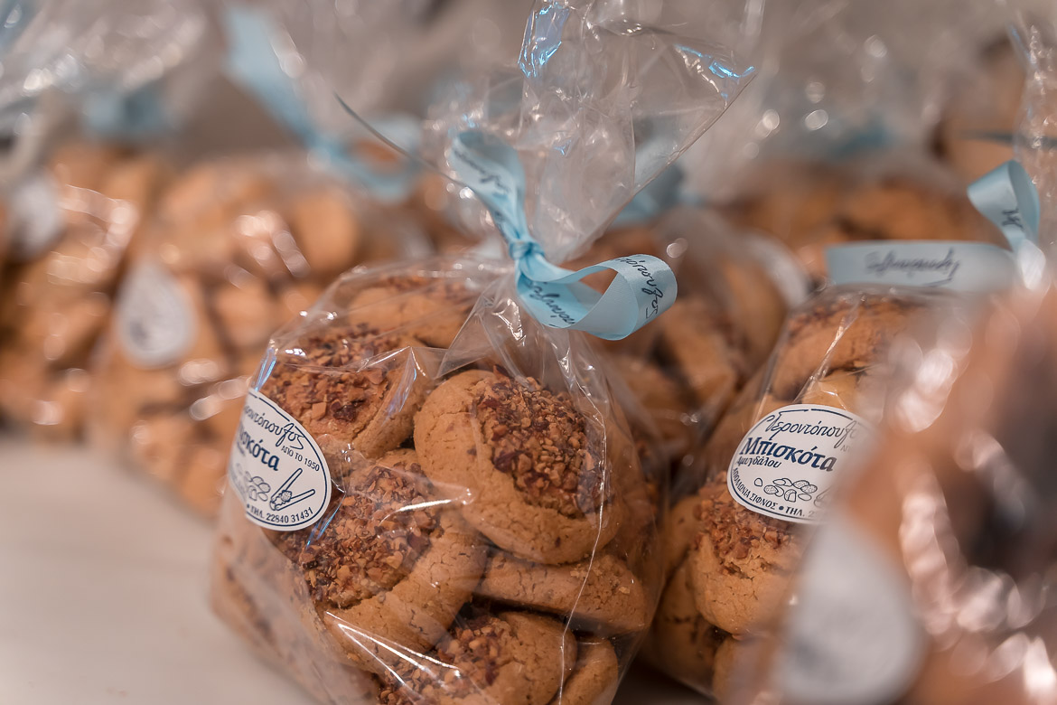 This is a close up of bags containing local cookies on sale in Gerontopoulos Pastry Shop in Apollonia.