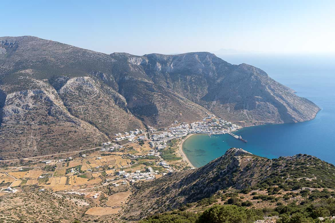 This photo shows the panoramic views to Kamares Port from Agios Simeon Monastery.