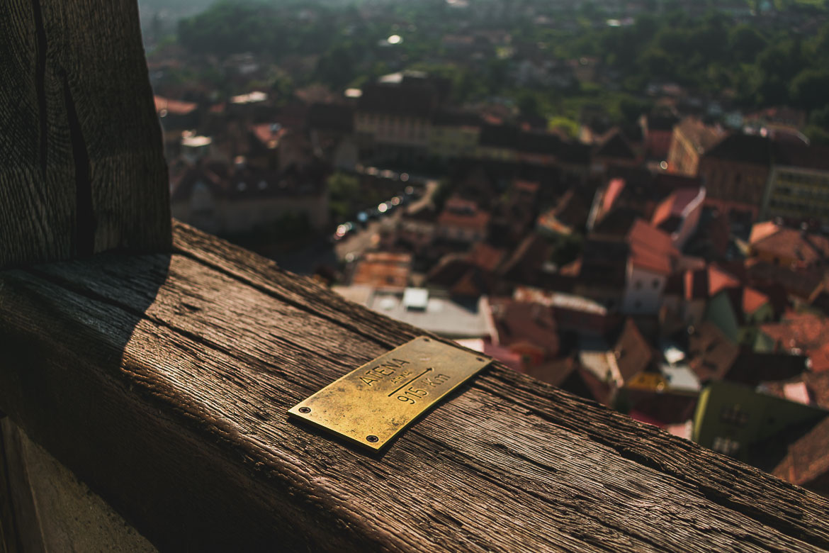 View from the top of the Clock Tower to Sighisoara Transylvania. What to do in Sighisoara Romania in 24 hours.