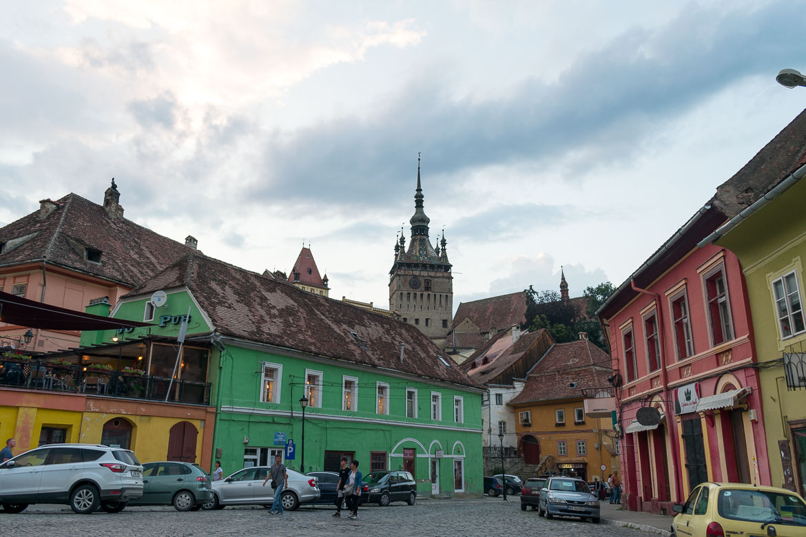 This is a photo of the Lower Town in Sighisoara, Transylvania. What to do in Sighisoara Romania in 24 hours.
